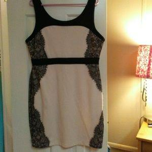 Maitai Beige Dress With Lace Trim
